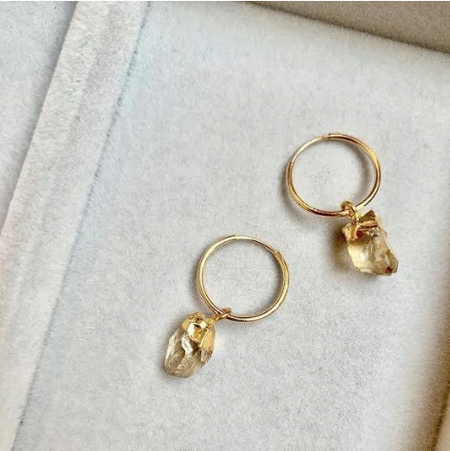 Decadorn Delicate Hoop Earrings - Raw Citrine
