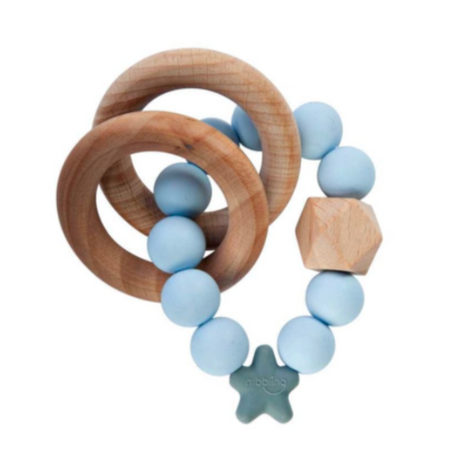 Nibbling Stellar Natural Wood Teething Toy – Soft Blue