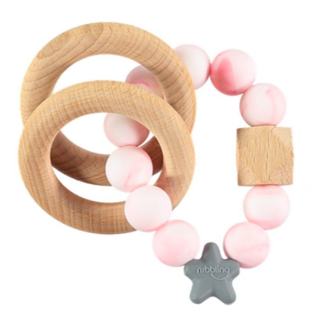 Nibbling Stellar Natural Wood Teething Toy – Pink Marble
