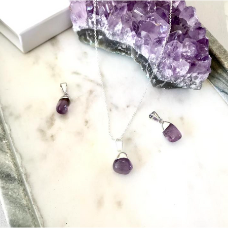 Decadorn Mini Tumbled Gemstone Necklace - Sterling Silver - Amethyst (Calming)