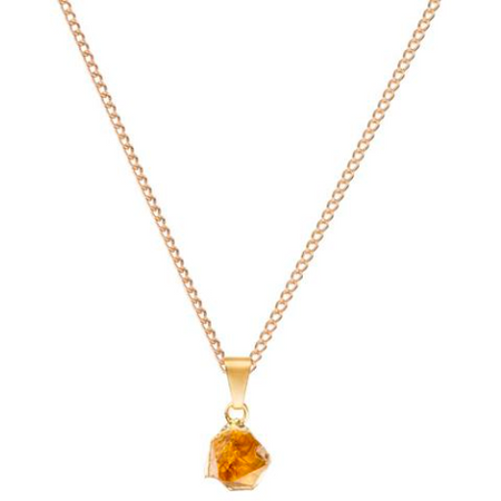 Decadorn Mini Raw Cut Necklace - Citrine