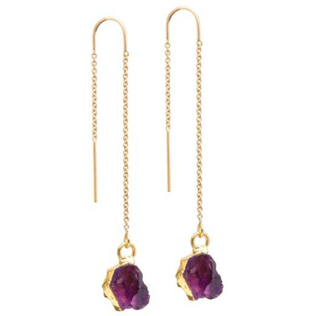 Decadorn Mini Raw Cut Threader Earrings - Amethyst