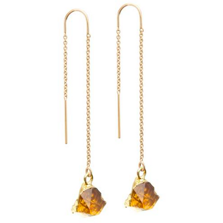 Decadorn Mini Raw Cut Threader Earrings - Citrine