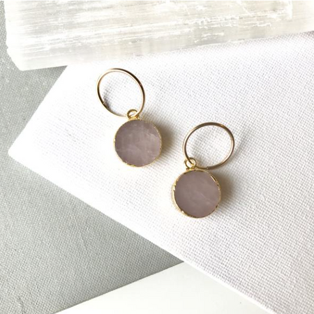 Decadorn Mini Circle Hoop Earrings - Rose Quartz