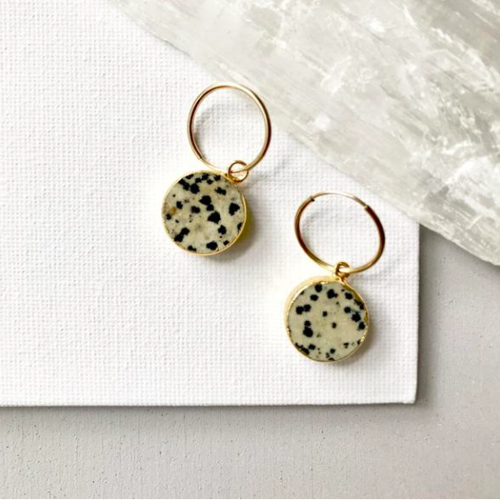 Decadorn Mini Circle Hoop Earrings - Dalmatian Jasper