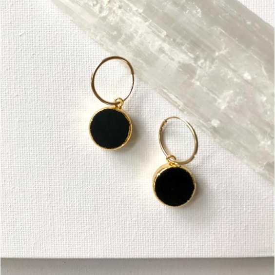 Decadorn Mini Circle Hoop Earrings - Onyx