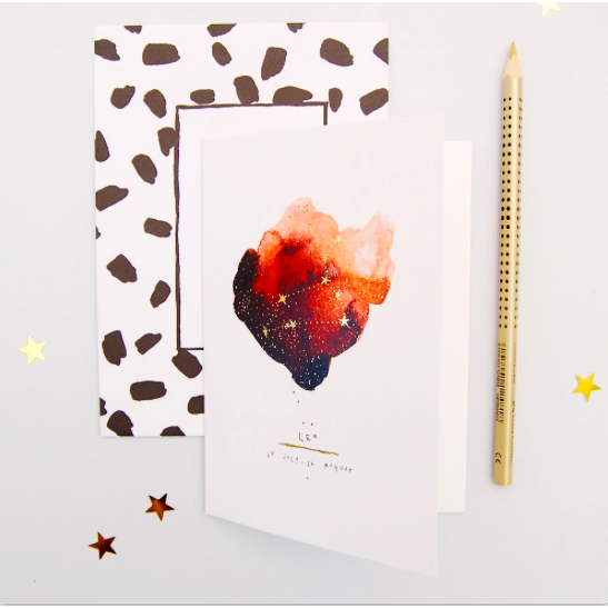 Blank Inside Zodiac Greetings Card - Leo