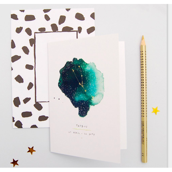 Blank Inside Zodiac Greetings Card - Taurus