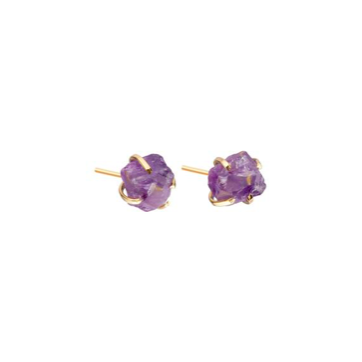 Decadorn Birthstone Raw Cut Studs Earrings - February Amethyst