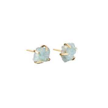 Decadorn Birthstone Raw Cut Studs Earrings - March Aquamarine