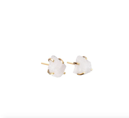 Decadorn Birthstone Raw Cut Studs Earrings - June, Moonstone