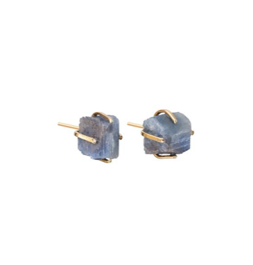 Decadorn Birthstone Raw Cut Studs Earrings - September, Sapphire