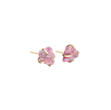Decadorn Birthstone Raw Cut Studs Earrings - October, Pink Tourmaline