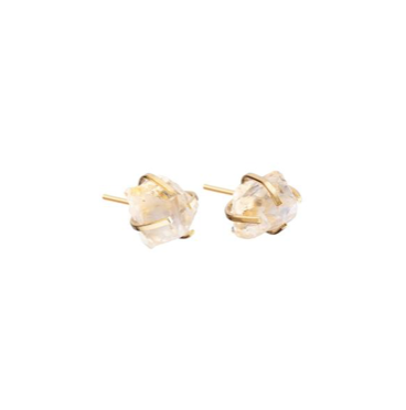 Decadorn Birthstone Raw Cut Studs Earrings - November, Citrine