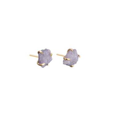 Decadorn Birthstone Raw Cut Studs Earrings - December, Tanzanite