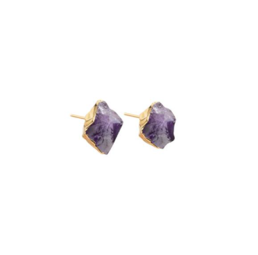 Decadorn Mini Raw Cut Stud Earrings - Amethyst