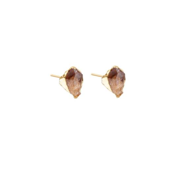 Decadorn Mini Raw Cut Stud Earrings - Citrine