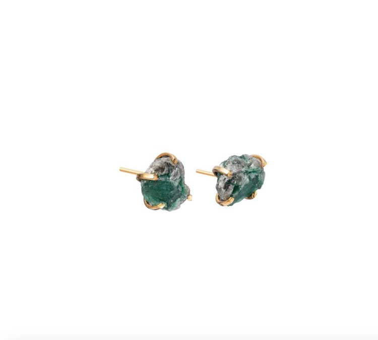 Decadorn Birthstone Raw Cut Studs Earrings - May, Emerald