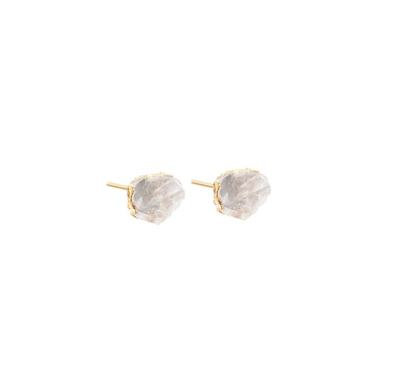 Decadorn Mini Raw Cut Stud Earrings - Quartz