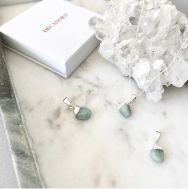 Decadorn Mini Tumbled Gemstone Necklace - Sterling Silver - Amazonite (Confidence)