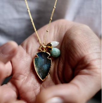 Decadorn Amulet Triple Necklace - Labradorite/Moonstone/Amazonite