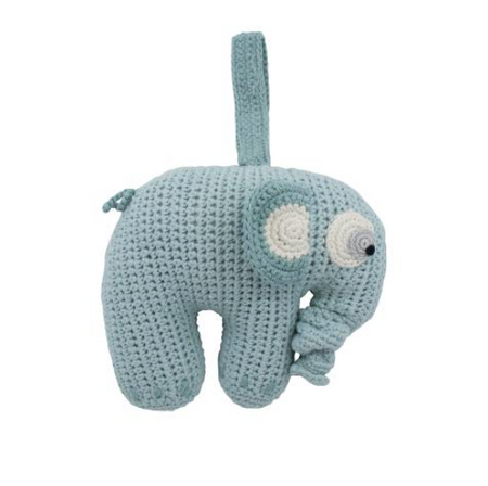 Sebra Crochet Musical Pull-toy - Fanto the Elephant Blue