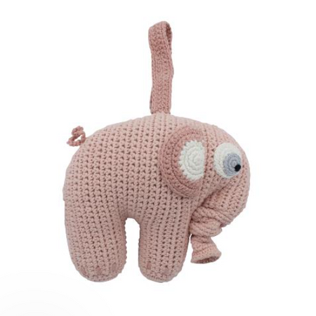 Sebra Crochet Musical Pull-toy - Fanto the Elephant Pink