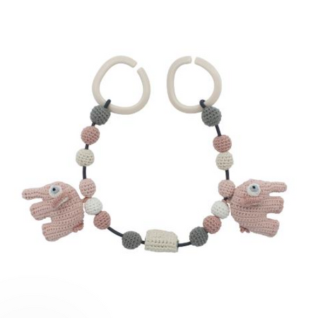 Sebra Crochet Pram Chain - Fanto the Elephant Pink