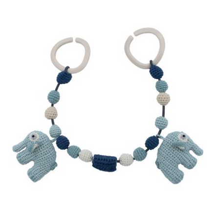 Sebra Crochet Pram Chain - Fanto the Elephant Blue