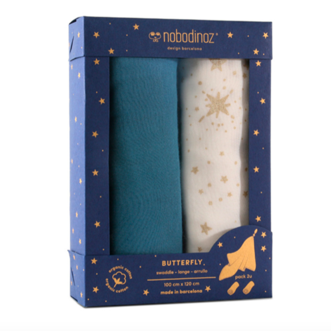 Nobodinoz Butterfly Swaddles 2 Pack - Night Blue