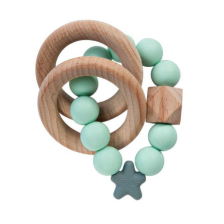 Nibbling Stellar Natural Wood Teething Toy – Mint