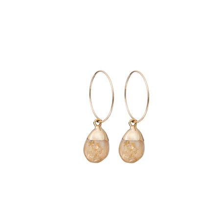 Decadorn Mini Tumbled Gemstone Hoop Earrings - Citrine (Success & Creativity)