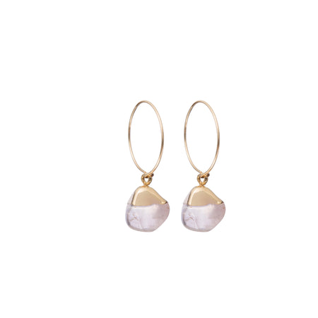 Decadorn Mini Tumbled Gemstone Hoop Earrings - Rose Quartz (Love)