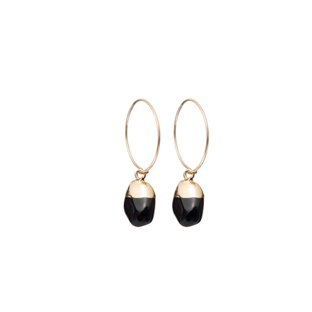 Decadorn Mini Tumbled Gemstone Hoop Earrings - Onyx (Strength)