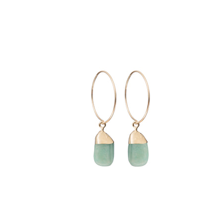 Decadorn Mini Tumbled Gemstone Hoop Earrings - Amazonite (Confidence)