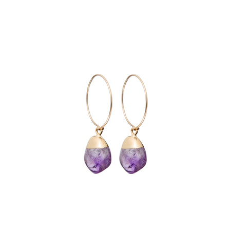 Decadorn Mini Tumbled Gemstone Hoop Earrings - Amethyst (Calming)