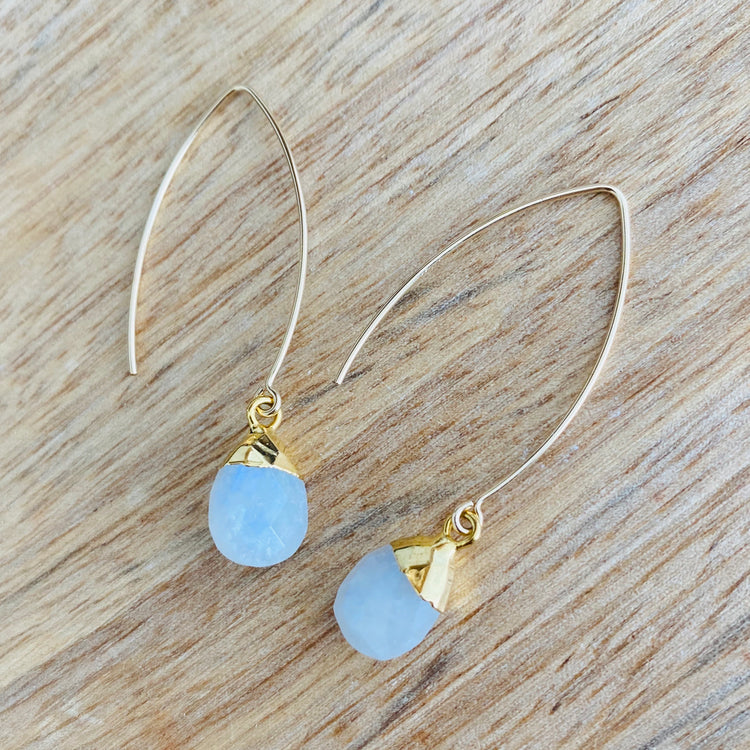 Decadorn Amulet Droplet Dropper Earrings - Blue Lace Agate