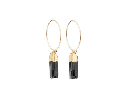 Decadorn Mini Tourmaline Slice Hoop Earrings