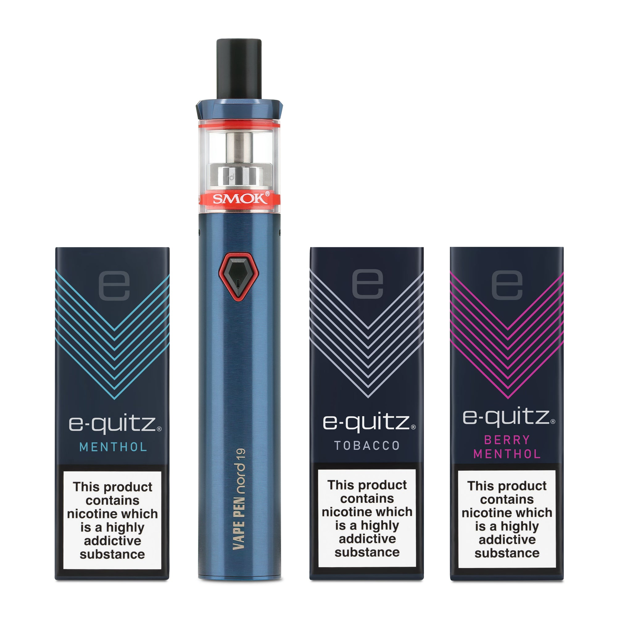 3 free e-liquid and smok vape pen in blue