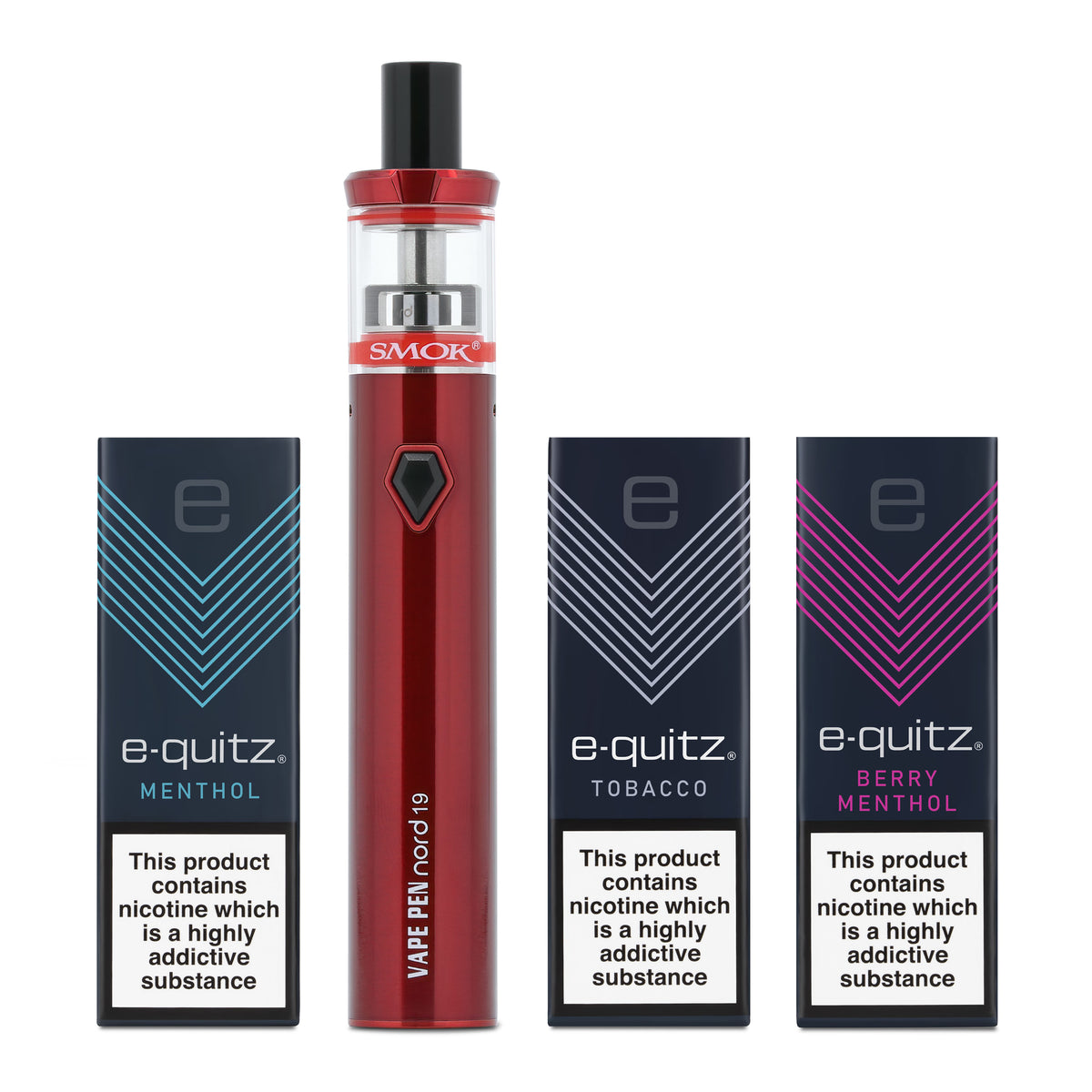 3 free e-liquid and smok vape pen in red