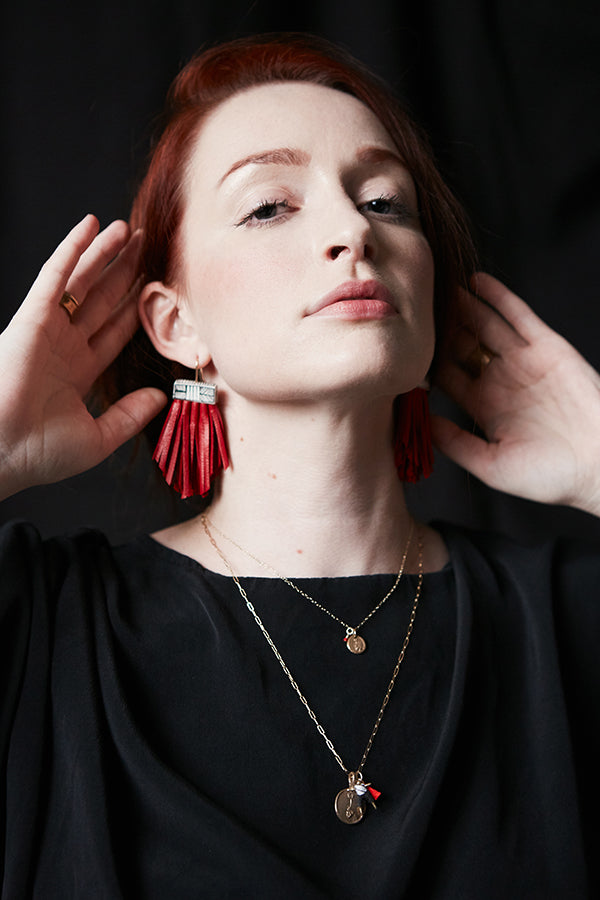 Tassel Cage Earrings with Red Leather