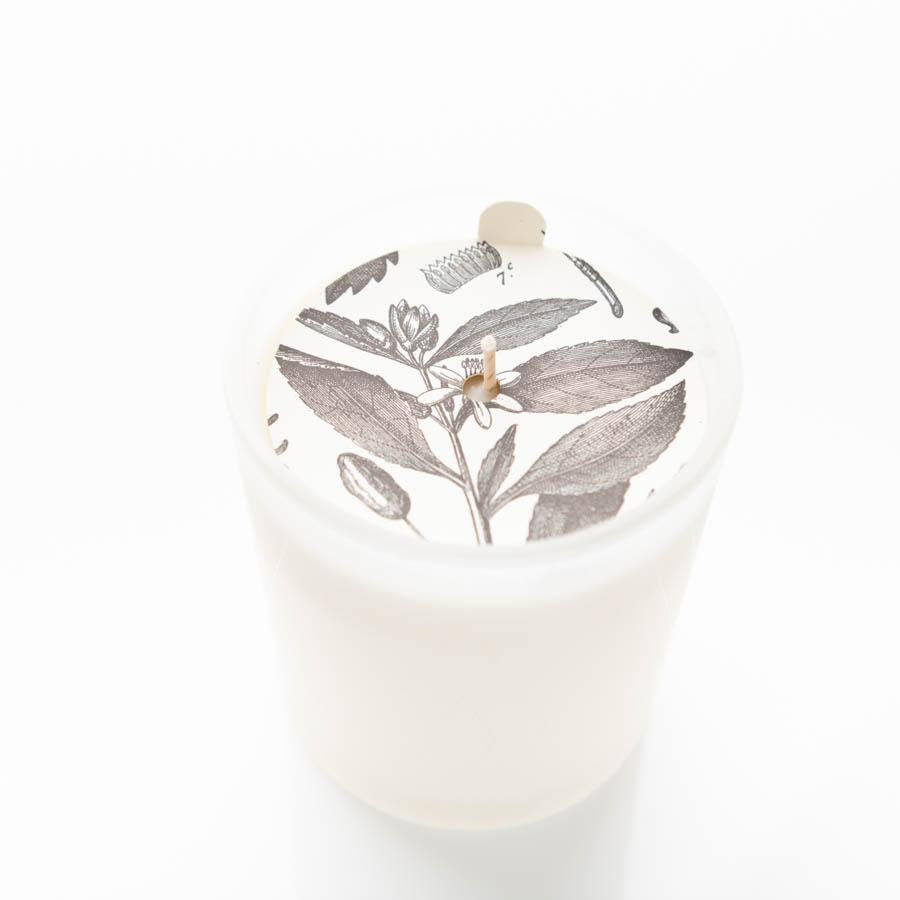 Fig Leaf White Glass Candle