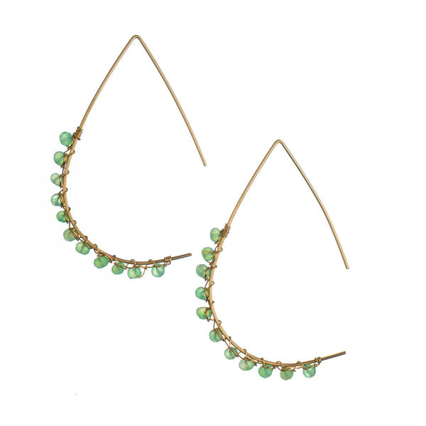 Amazonite Gold 'Olivia' Teardrop Backless Earrings