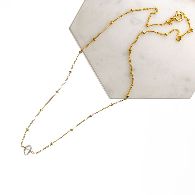 Herkimer Short Gold Chain Necklace