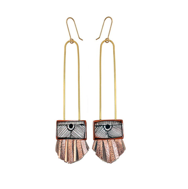 Long Regalo Earrings with Rose Gold Leather