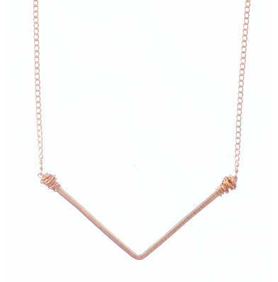 Wide 'V' Gold Chain Necklace