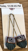 Long Regalo Earrings with Sage Green Leather