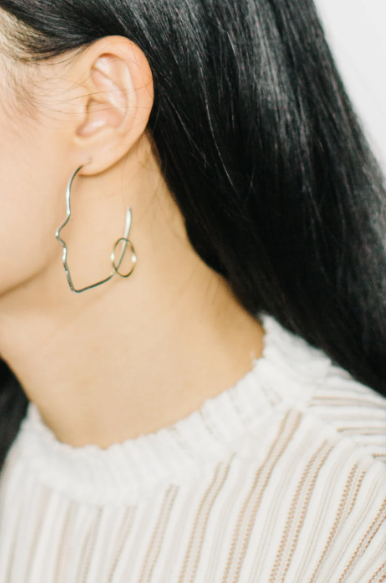 Silver Profile Earrings