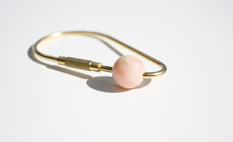 Rose Quartz & Brass Keychain