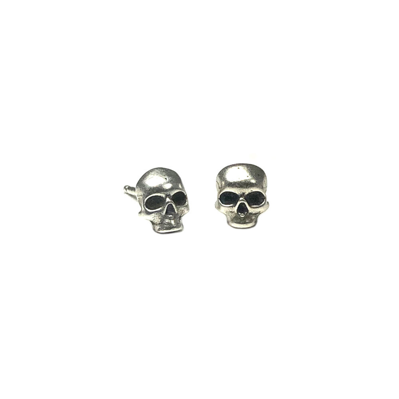 Sterling Silver Skull & Black Matte Onyx Earrings